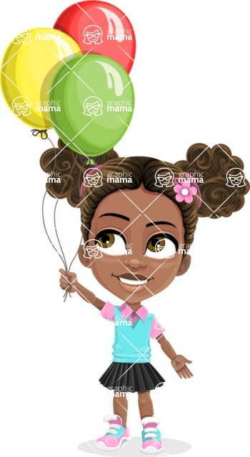 African American School Girl Cartoon Vector Character AKA Anita - Party 3