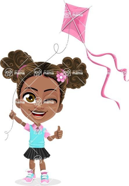 African American School Girl Cartoon Vector Character AKA Anita - Kite