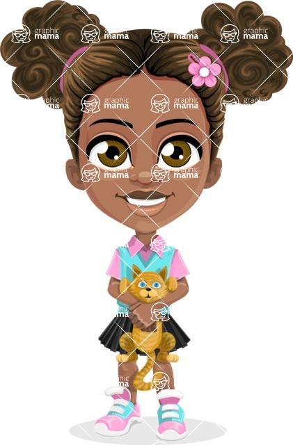 African American School Girl Cartoon Vector Character AKA Anita - Kitty