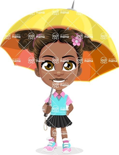 African American School Girl Cartoon Vector Character AKA Anita - Umbrella