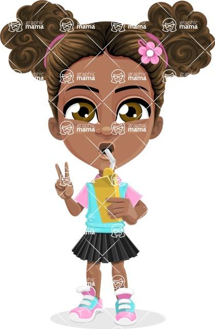 African American School Girl Cartoon Vector Character AKA Anita - Shake