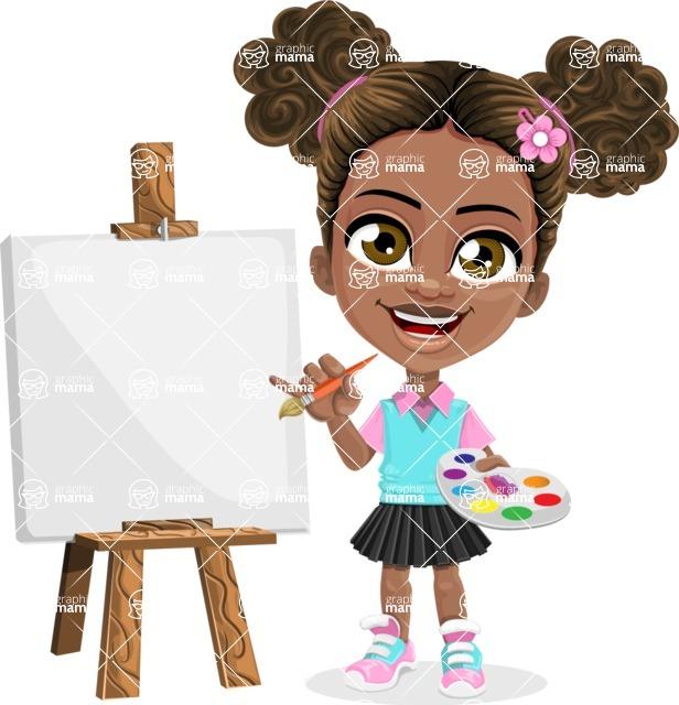 African American School Girl Cartoon Vector Character AKA Anita - Painting