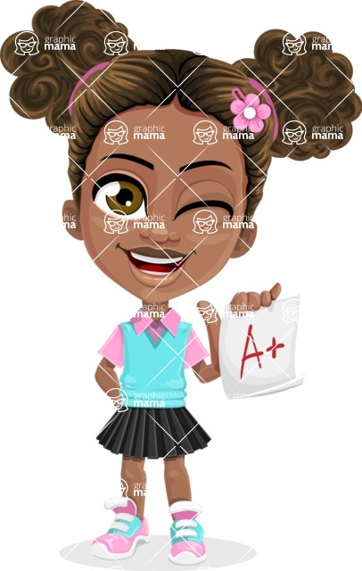African American School Girl Cartoon Vector Character AKA Anita - Score