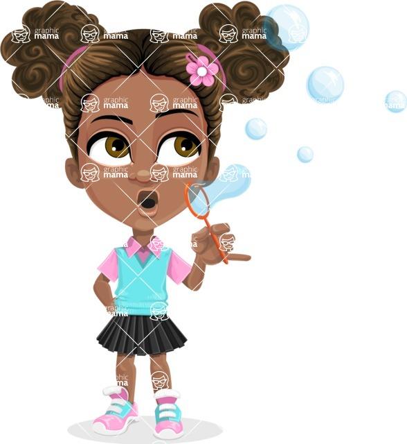 African American School Girl Cartoon Vector Character AKA Anita - Soap Bubbles