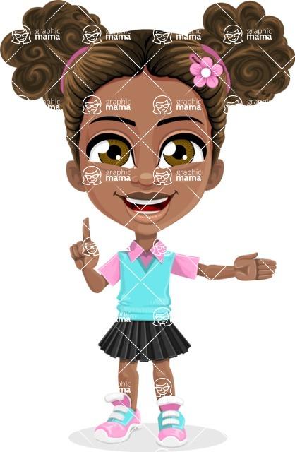 African American School Girl Cartoon Vector Character AKA Anita - Show 1
