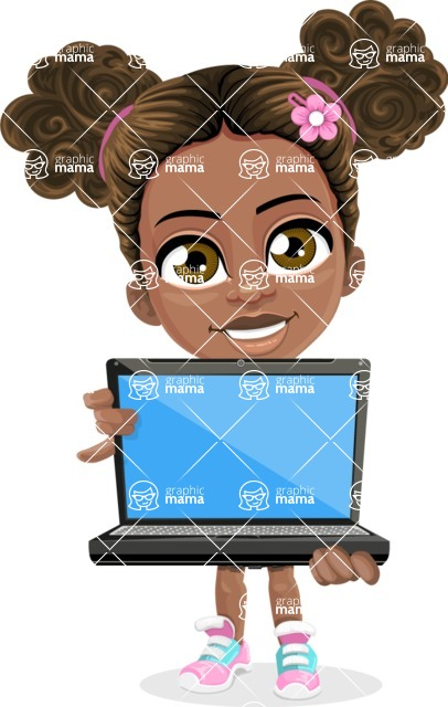African American School Girl Cartoon Vector Character AKA Anita - Laptop 1