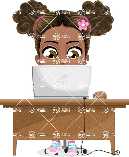 African American School Girl Cartoon Vector Character AKA Anita - Laptop 3