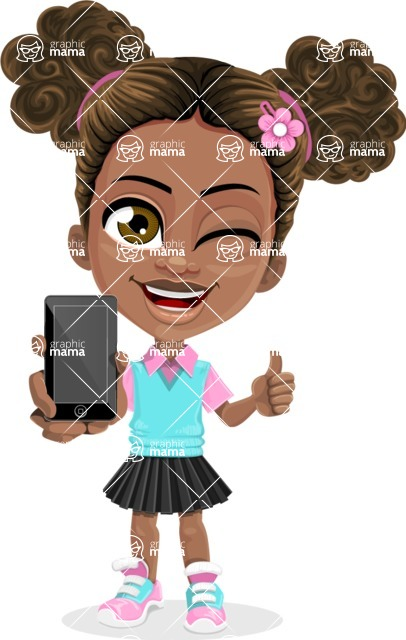 African American School Girl Cartoon Vector Character AKA Anita - Smartphone