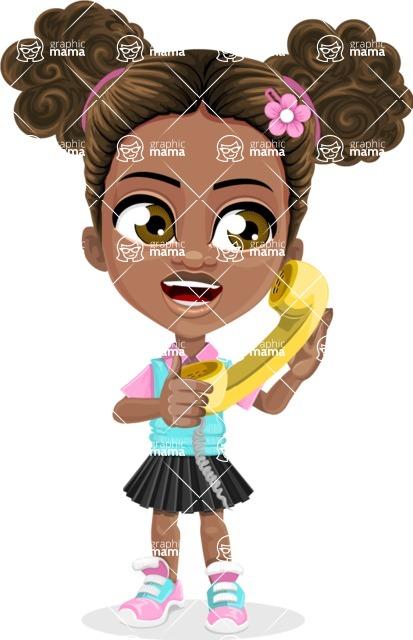 African American School Girl Cartoon Vector Character AKA Anita - Homeline