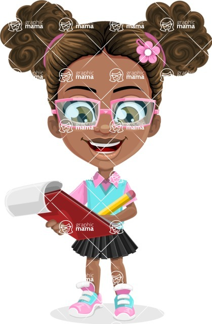 African American School Girl Cartoon Vector Character AKA Anita - Taking Notes