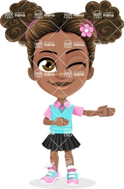 African American School Girl Cartoon Vector Character AKA Anita - Show 2