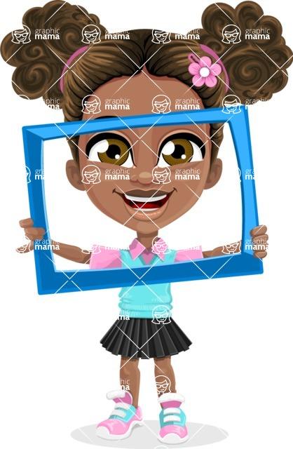 African American School Girl Cartoon Vector Character AKA Anita - Frame