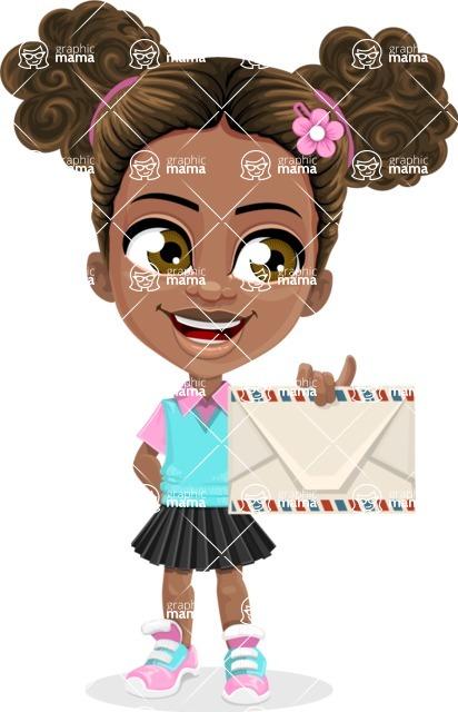 African American School Girl Cartoon Vector Character AKA Anita - Letter