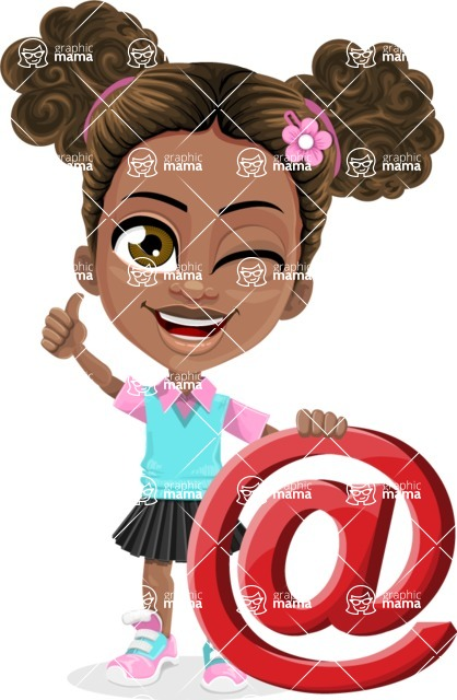 African American School Girl Cartoon Vector Character AKA Anita - Mail