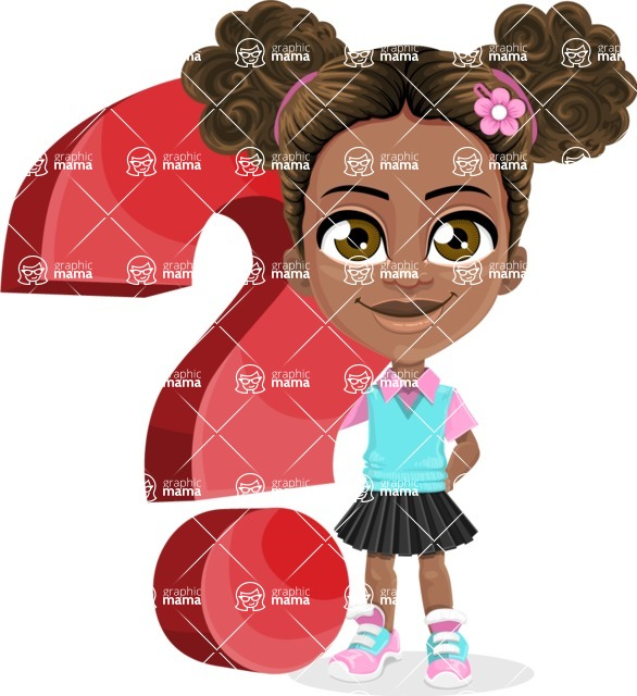 African American School Girl Cartoon Vector Character AKA Anita - Question