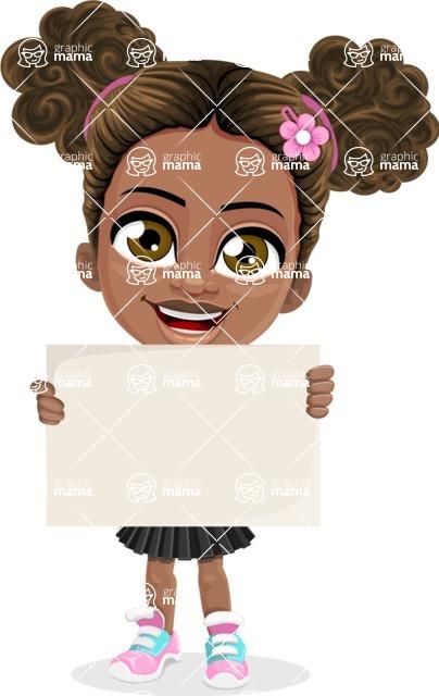 African American School Girl Cartoon Vector Character AKA Anita - Sign 1