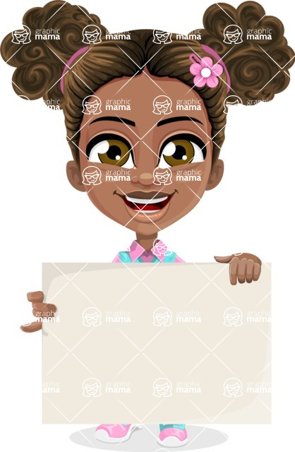 African American School Girl Cartoon Vector Character AKA Anita - Sign 2