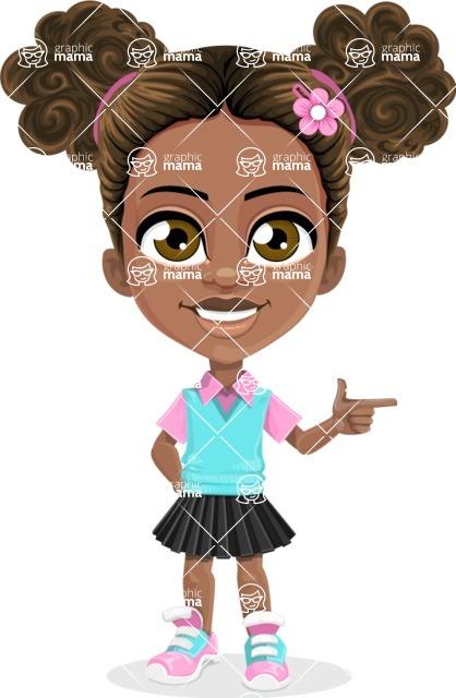 African American School Girl Cartoon Vector Character AKA Anita - Point