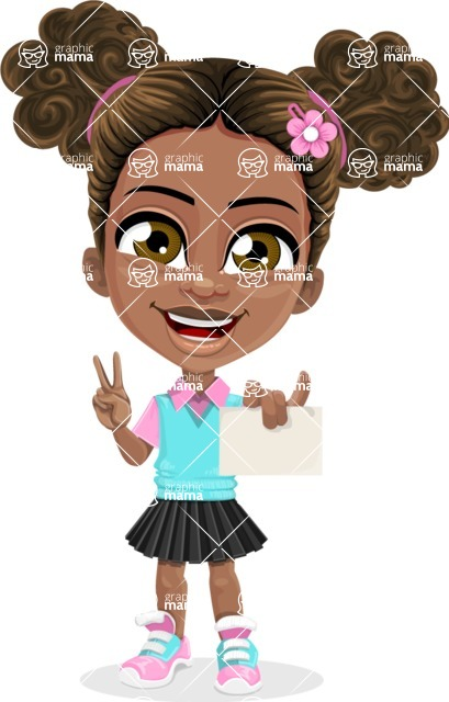 African American School Girl Cartoon Vector Character AKA Anita - Sign 6