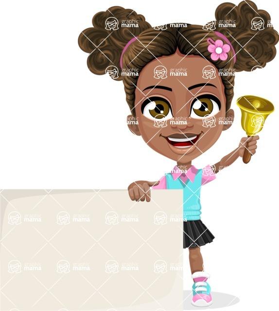 African American School Girl Cartoon Vector Character AKA Anita - Sign 7