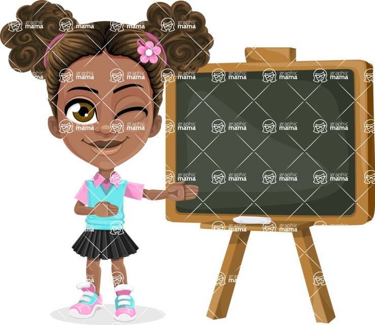 African American School Girl Cartoon Vector Character AKA Anita - Presentation 1