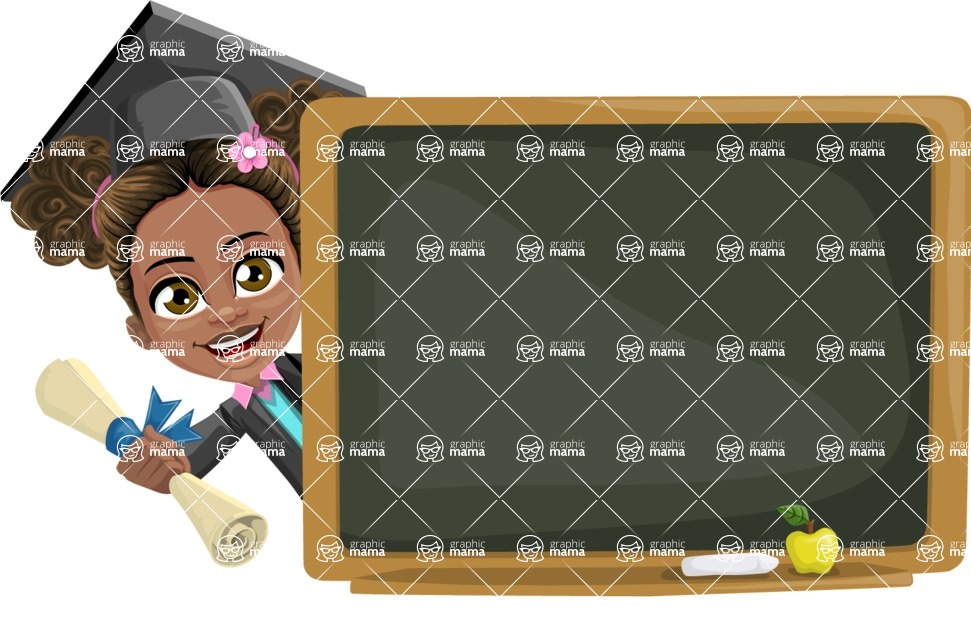 African American School Girl Cartoon Vector Character AKA Anita - Presentation 3