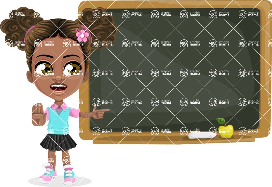 African American School Girl Cartoon Vector Character AKA Anita - Presentation 4