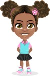 African American School Girl Cartoon Vector Character AKA Anita - Normal