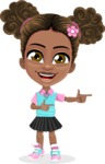 African American School Girl Cartoon Vector Character AKA Anita - Point 2