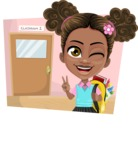 African American School Girl Cartoon Vector Character AKA Anita - Shape 3