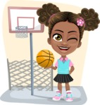 African American School Girl Cartoon Vector Character AKA Anita - Shape 5