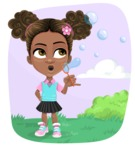 African American School Girl Cartoon Vector Character AKA Anita - Shape 8