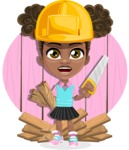African American School Girl Cartoon Vector Character AKA Anita - Shape 10