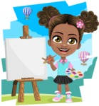 African American School Girl Cartoon Vector Character AKA Anita - Shape 11