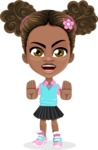 African American School Girl Cartoon Vector Character AKA Anita - Stop
