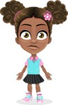 African American School Girl Cartoon Vector Character AKA Anita - Stunned