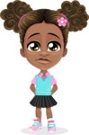 African American School Girl Cartoon Vector Character AKA Anita - Sad