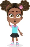 African American School Girl Cartoon Vector Character AKA Anita - Shocked