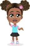 African American School Girl Cartoon Vector Character AKA Anita - Lost 2