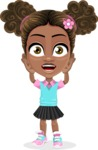 African American School Girl Cartoon Vector Character AKA Anita - Confused
