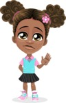 African American School Girl Cartoon Vector Character AKA Anita - Goodbye
