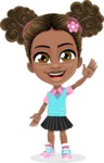 African American School Girl Cartoon Vector Character AKA Anita - Hello