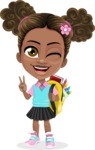African American School Girl Cartoon Vector Character AKA Anita - Backpack