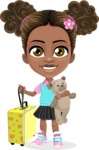 African American School Girl Cartoon Vector Character AKA Anita - Travel