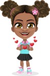 African American School Girl Cartoon Vector Character AKA Anita - Show Love
