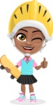 African American School Girl Cartoon Vector Character AKA Anita - Sketeboard