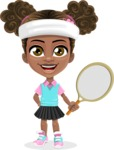 African American School Girl Cartoon Vector Character AKA Anita - Tennis