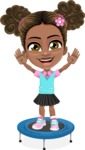 African American School Girl Cartoon Vector Character AKA Anita - Trampoline