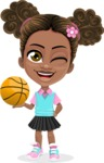 African American School Girl Cartoon Vector Character AKA Anita - Basketball