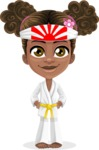 African American School Girl Cartoon Vector Character AKA Anita - Karate